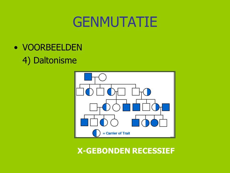 GENMUTATIE VOORBEELDEN 4) Daltonisme X-GEBONDEN RECESSIEF