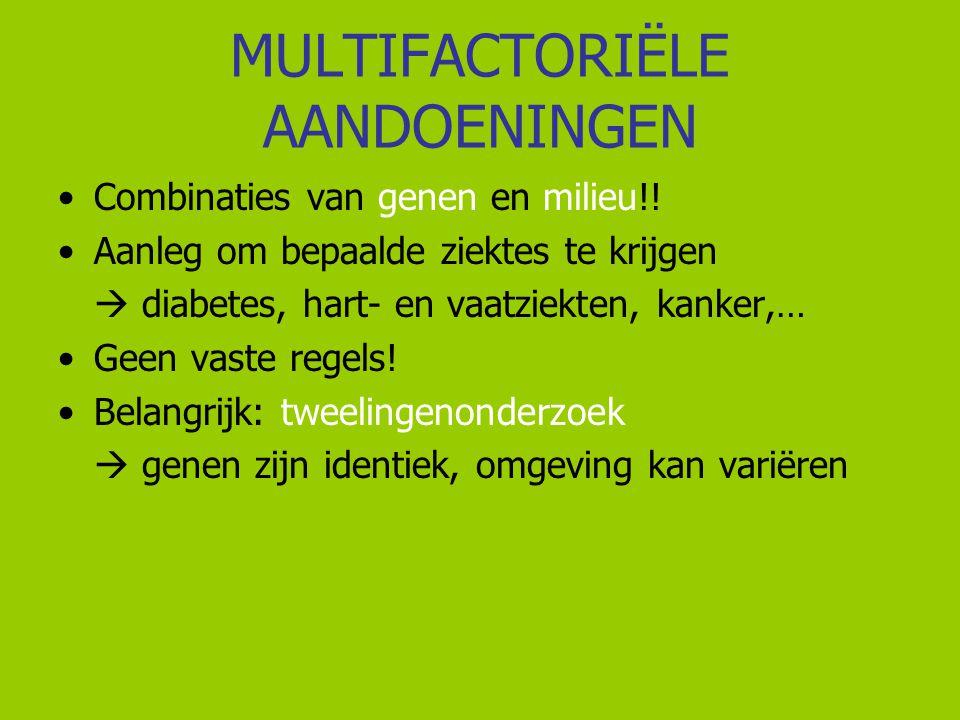 MULTIFACTORIËLE AANDOENINGEN Combinaties van genen en milieu!! Aanleg om bepaalde ziektes te krijgen  diabetes, hart- en vaatziekten, kanker,… Geen v