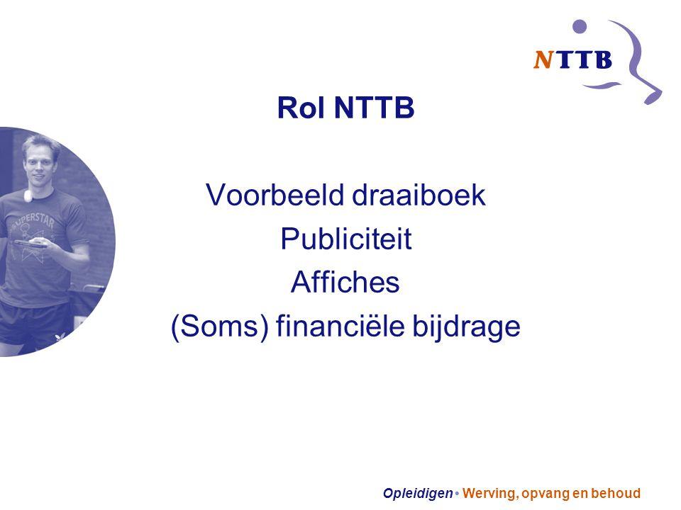 Opleidigen Werving, opvang en behoud Rol NTTB Voorbeeld draaiboek Publiciteit Affiches (Soms) financiële bijdrage