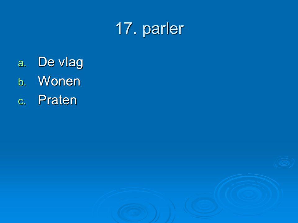 17. parler a. De vlag b. Wonen c. Praten