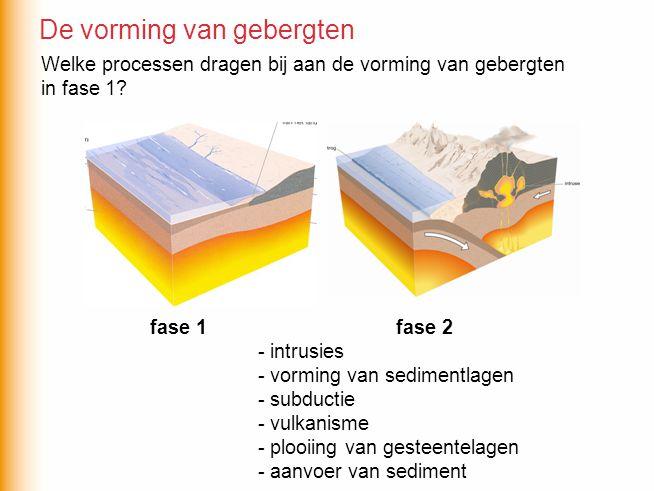 -aanvoer van sediment -vorming van sedimentlagen fase 1 fase 2 De vorming van gebergten Welke processen dragen bij aan de vorming van gebergten in fase 1?