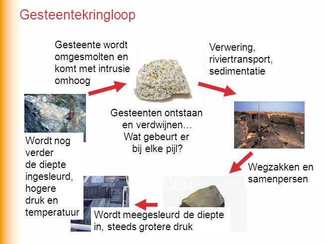 Exogene en endogene processen dragen bij aan de gesteentekringloop.