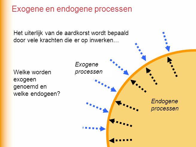 Endogeen: - Aardbevingen - Vulkanisme - Breukvorming - Plooiing van gesteente - Opheffing - Daling Welke van de volgende processen zijn endogeen en welke zijn exogeen.
