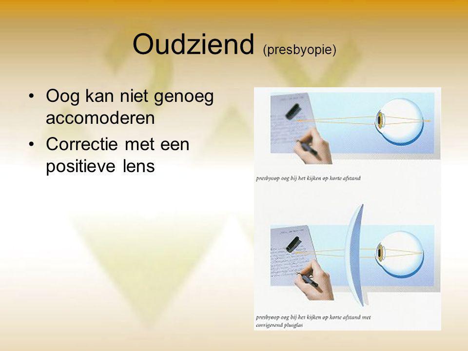Oudziend (presbyopie) Oog kan niet genoeg accomoderen Correctie met een positieve lens