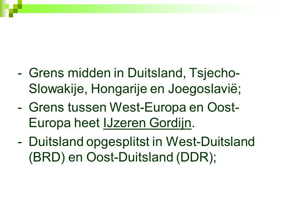 -Grens midden in Duitsland, Tsjecho- Slowakije, Hongarije en Joegoslavië; -Grens tussen West-Europa en Oost- Europa heet IJzeren Gordijn.