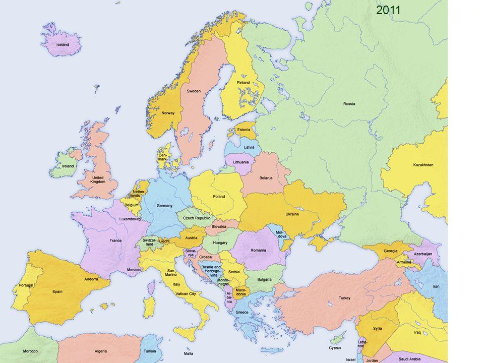 Veranderingen in Europa - 1 ste en 2 de Wereldoorlog hebben Europa verdeeld, waardoor nieuwe staten ontstonden of verdwenen (Pruisen > Polen) - Koude Oorlog heeft politiek veel veranderd - Conflicten hebben landen uit elkaar gehaald of bij elkaar gebracht.