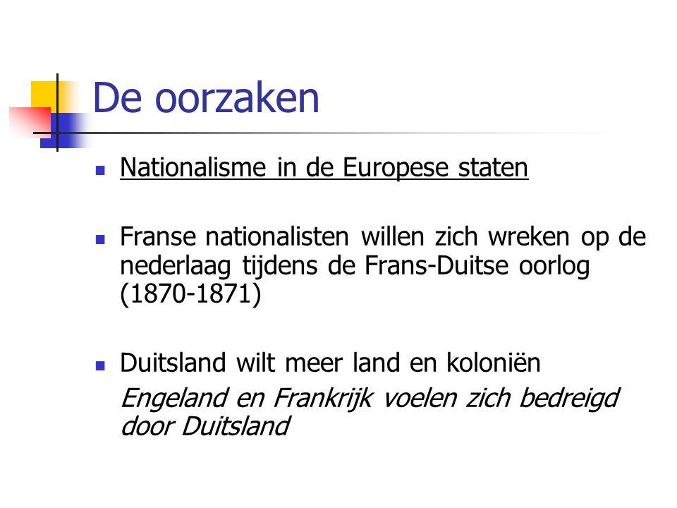 De oorzaken Nationalisme in de Europese staten Franse nationalisten willen zich wreken op de nederlaag tijdens de Frans-Duitse oorlog (1870-1871) Duit