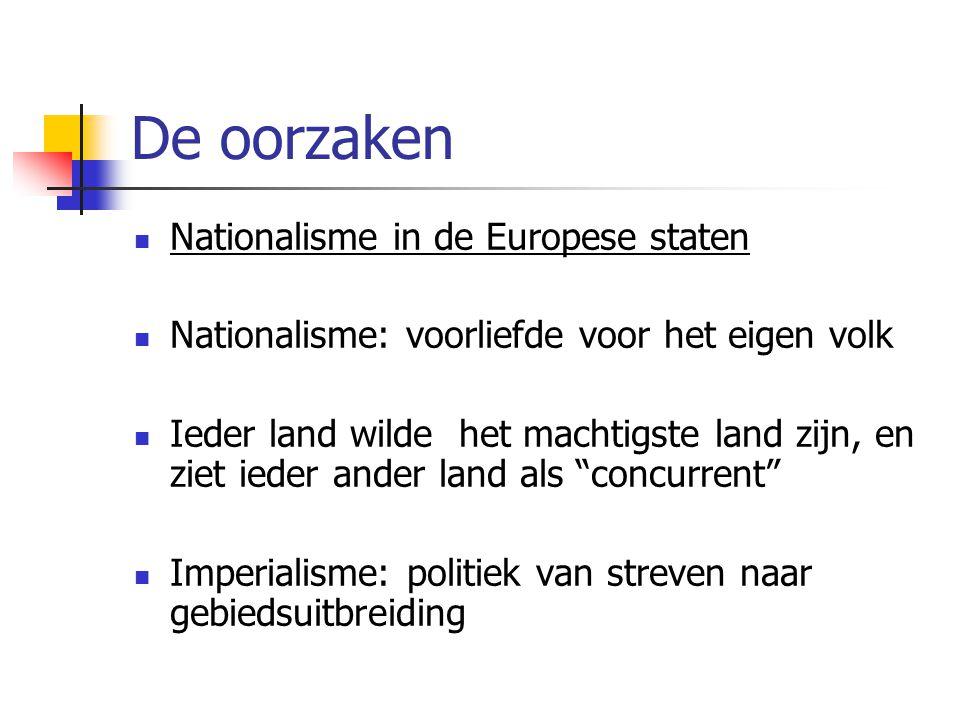 De oorzaken Nationalisme in de Europese staten Nationalisme: voorliefde voor het eigen volk Ieder land wilde het machtigste land zijn, en ziet ieder a