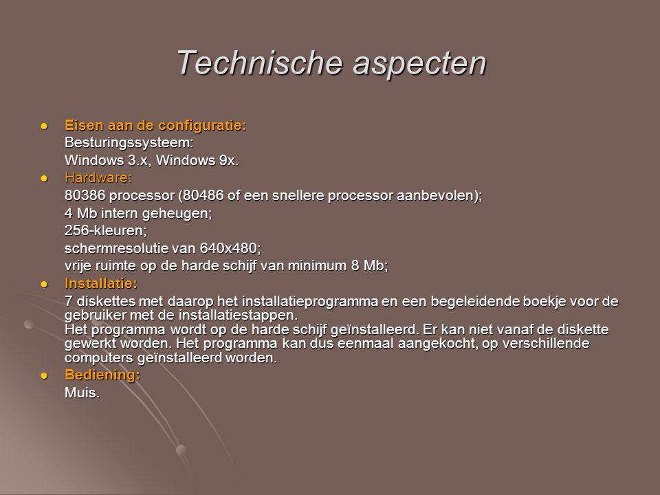 Technische aspecten Eisen aan de configuratie: Eisen aan de configuratie:Besturingssysteem: Windows 3.x, Windows 9x. Hardware: Hardware: 80386 process