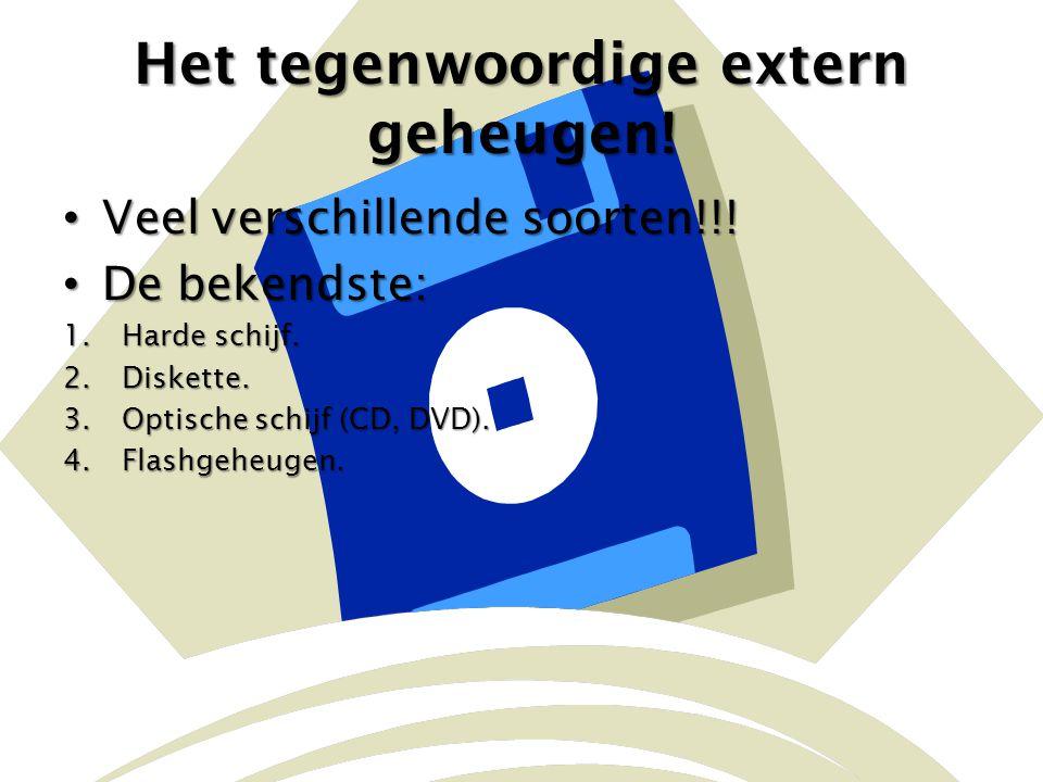Het tegenwoordige extern geheugen! Veel verschillende soorten!!! Veel verschillende soorten!!! De bekendste: De bekendste: 1.Harde schijf. 2.Diskette.