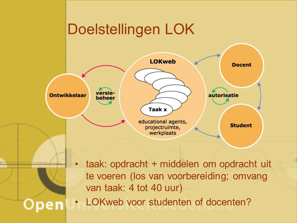 Doelstellingen LOK taak: opdracht + middelen om opdracht uit te voeren (los van voorbereiding; omvang van taak: 4 tot 40 uur) LOKweb voor studenten of docenten
