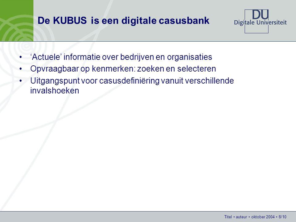 Titel auteur oktober 2004 8/10 De KUBUS is een digitale casusbank 'Actuele' informatie over bedrijven en organisaties Opvraagbaar op kenmerken: zoeken