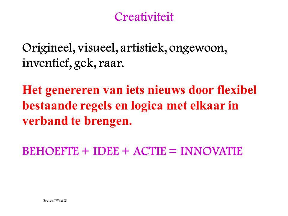 Creativiteit Origineel, visueel, artistiek, ongewoon, inventief, gek, raar. Het genereren van iets nieuws door flexibel bestaande regels en logica met
