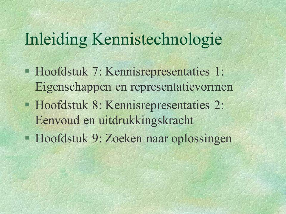 Inleiding Kennistechnologie §Hoofdstuk 7: Kennisrepresentaties 1: Eigenschappen en representatievormen §Hoofdstuk 8: Kennisrepresentaties 2: Eenvoud en uitdrukkingskracht §Hoofdstuk 9: Zoeken naar oplossingen