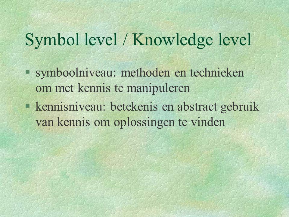 Symbol level / Knowledge level §symboolniveau: methoden en technieken om met kennis te manipuleren §kennisniveau: betekenis en abstract gebruik van kennis om oplossingen te vinden