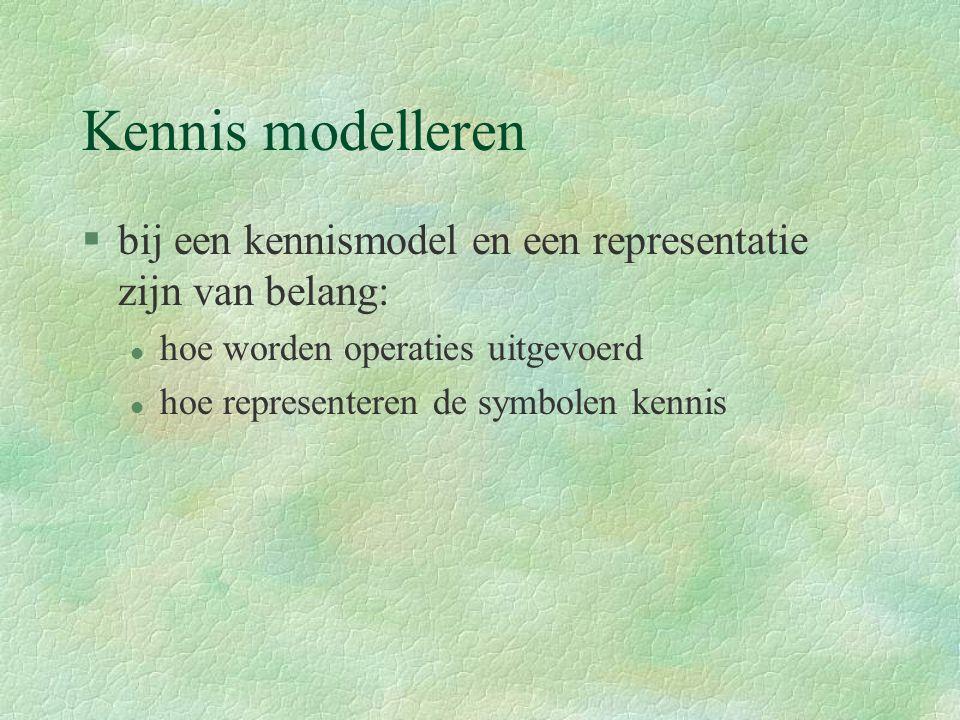 Kennis modelleren §bij een kennismodel en een representatie zijn van belang: l hoe worden operaties uitgevoerd l hoe representeren de symbolen kennis
