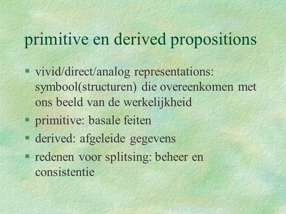 primitive en derived propositions §vivid/direct/analog representations: symbool(structuren) die overeenkomen met ons beeld van de werkelijkheid §primitive: basale feiten §derived: afgeleide gegevens §redenen voor splitsing: beheer en consistentie