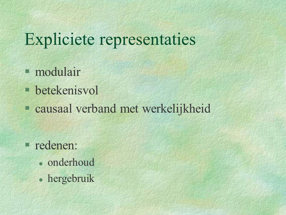 Expliciete representaties §modulair §betekenisvol §causaal verband met werkelijkheid §redenen: l onderhoud l hergebruik
