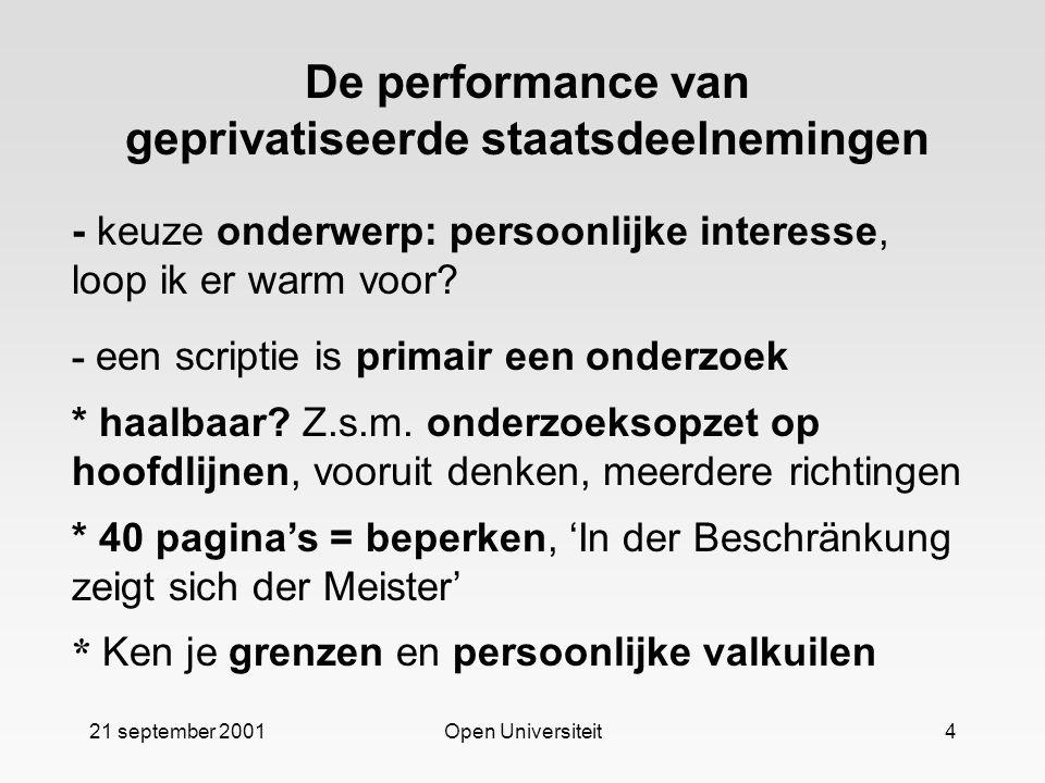 21 september 2001Open Universiteit4 De performance van geprivatiseerde staatsdeelnemingen - keuze onderwerp: persoonlijke interesse, loop ik er warm v