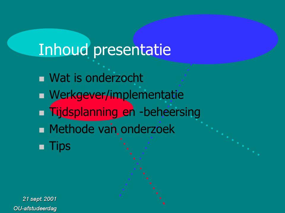 21 sept. 2001 OU-afstudeerdag Inhoud presentatie n Wat is onderzocht n Werkgever/implementatie n Tijdsplanning en -beheersing n Methode van onderzoek