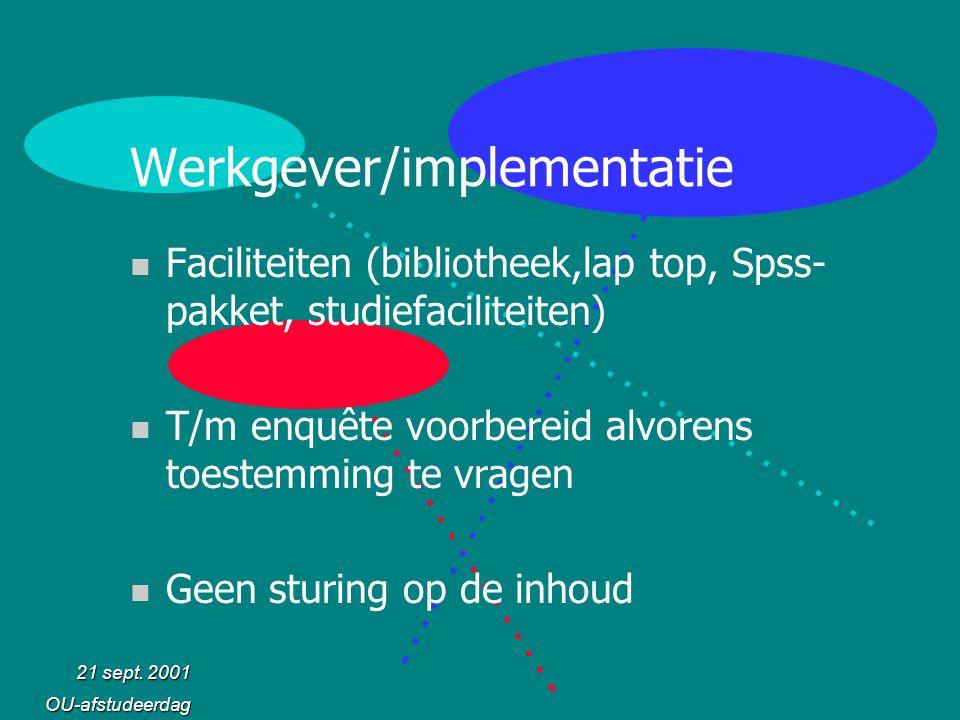 21 sept. 2001 OU-afstudeerdag Werkgever/implementatie n Faciliteiten (bibliotheek,lap top, Spss- pakket, studiefaciliteiten) n T/m enquête voorbereid