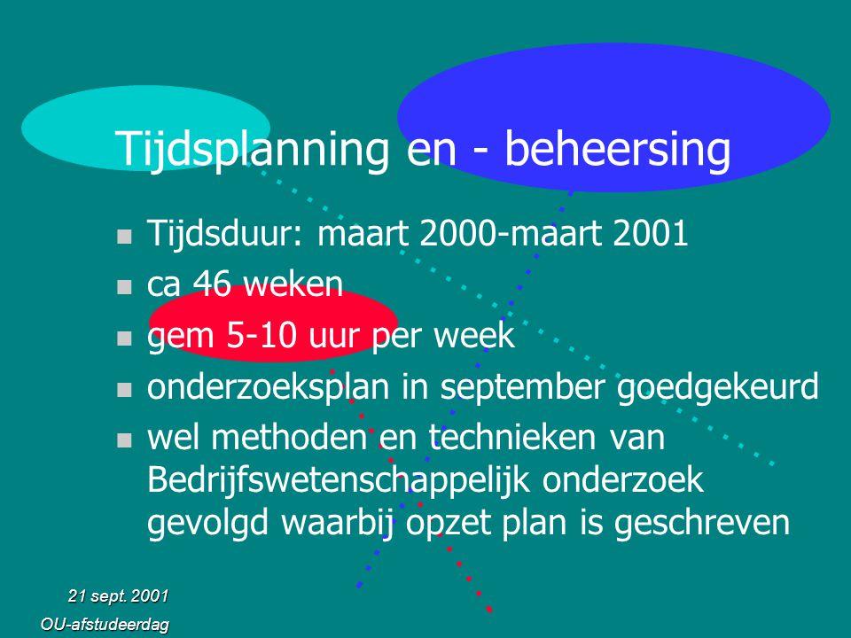 21 sept. 2001 OU-afstudeerdag Tijdsplanning en - beheersing n Tijdsduur: maart 2000-maart 2001 n ca 46 weken n gem 5-10 uur per week n onderzoeksplan