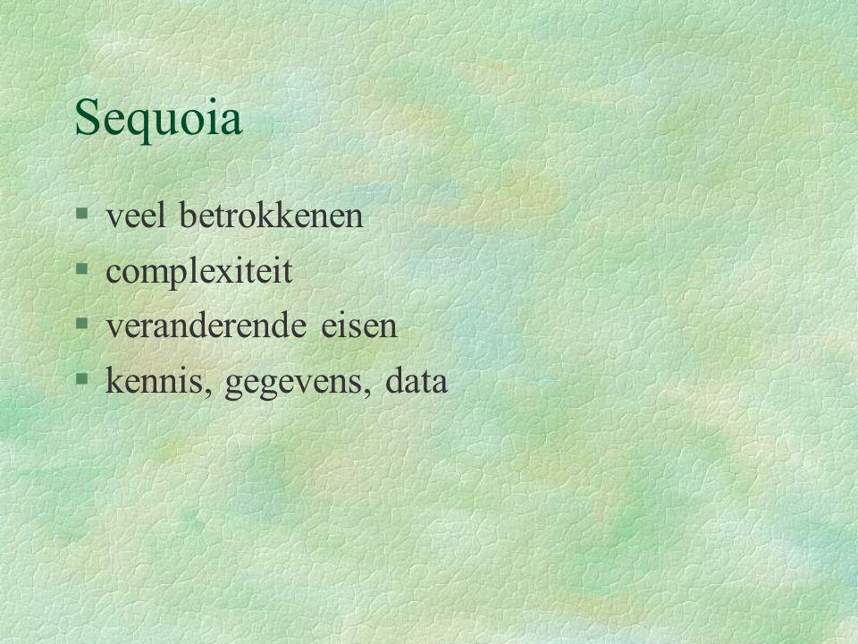 Sequoia §veel betrokkenen §complexiteit §veranderende eisen §kennis, gegevens, data