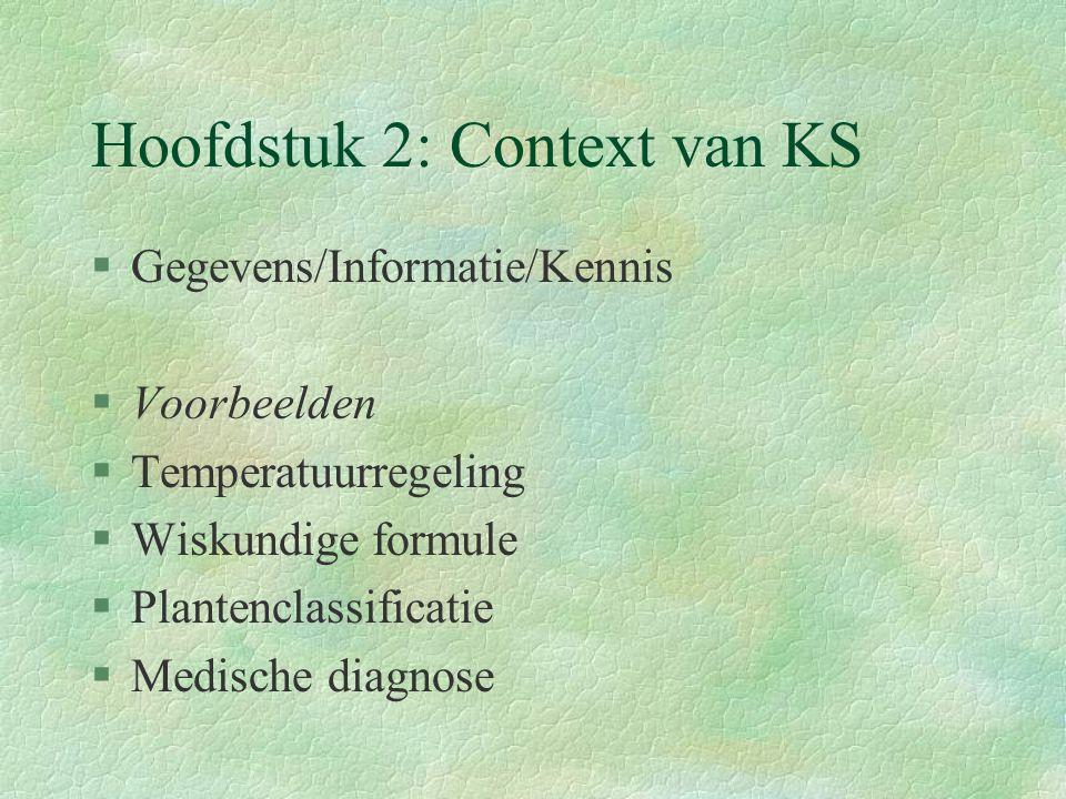 Hoofdstuk 2: Context van KS §Gegevens/Informatie/Kennis §Voorbeelden §Temperatuurregeling §Wiskundige formule §Plantenclassificatie §Medische diagnose