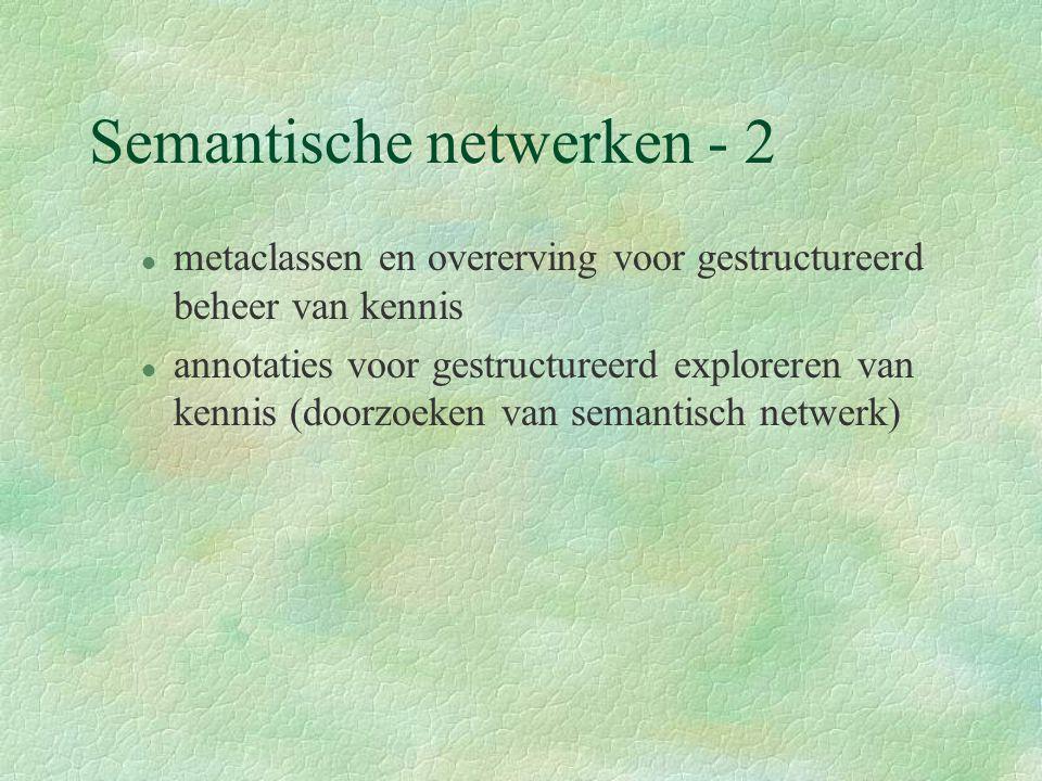 Semantische netwerken - 2 l metaclassen en overerving voor gestructureerd beheer van kennis l annotaties voor gestructureerd exploreren van kennis (doorzoeken van semantisch netwerk)