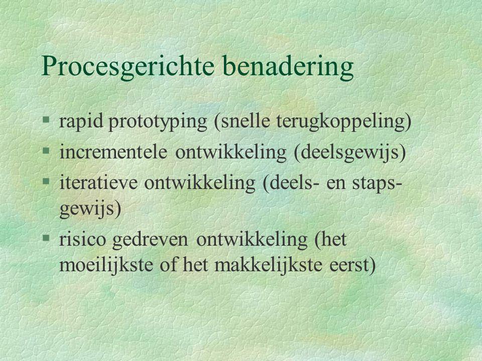 Procesgerichte benadering §rapid prototyping (snelle terugkoppeling) §incrementele ontwikkeling (deelsgewijs) §iteratieve ontwikkeling (deels- en staps- gewijs) §risico gedreven ontwikkeling (het moeilijkste of het makkelijkste eerst)
