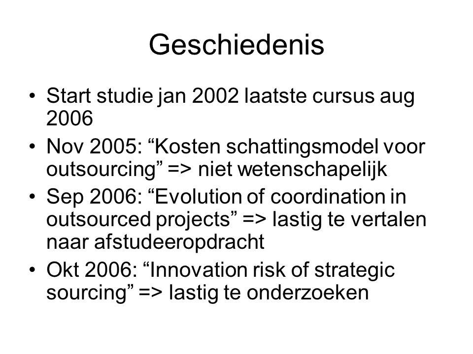 Geschiedenis Start studie jan 2002 laatste cursus aug 2006 Nov 2005: Kosten schattingsmodel voor outsourcing => niet wetenschapelijk Sep 2006: Evolution of coordination in outsourced projects => lastig te vertalen naar afstudeeropdracht Okt 2006: Innovation risk of strategic sourcing => lastig te onderzoeken