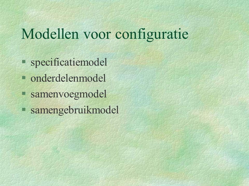 Modellen voor configuratie §specificatiemodel §onderdelenmodel §samenvoegmodel §samengebruikmodel