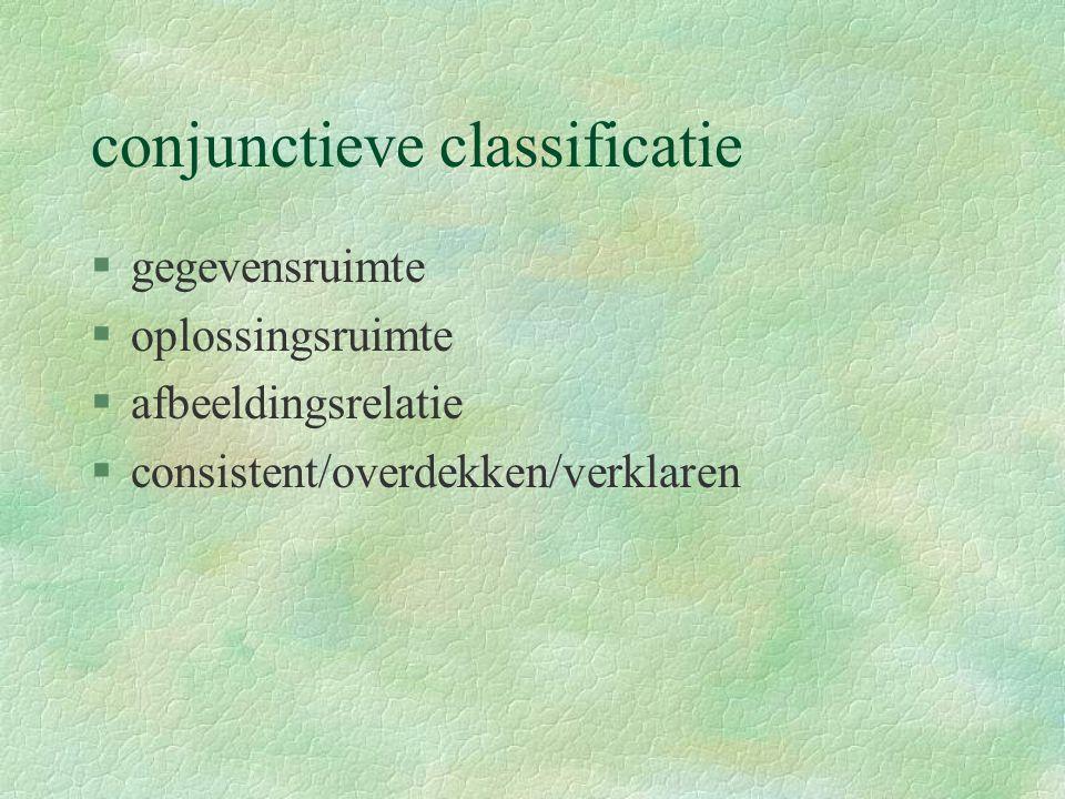 conjunctieve classificatie §gegevensruimte §oplossingsruimte §afbeeldingsrelatie §consistent/overdekken/verklaren