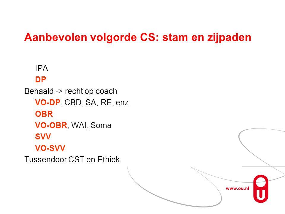 Aanbevolen volgorde CS: stam en zijpaden IPA DP Behaald -> recht op coach VO-DP, CBD, SA, RE, enz OBR VO-OBR, WAI, Soma SVV VO-SVV Tussendoor CST en Ethiek