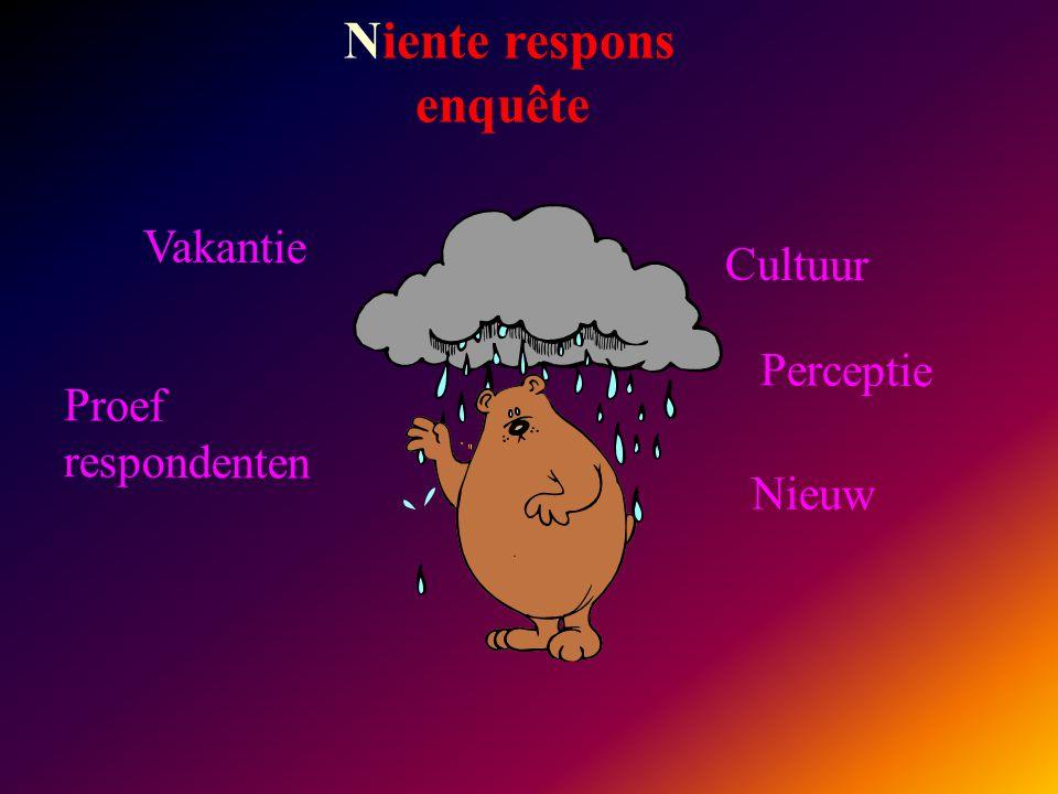 Niente respons enquête Vakantie Cultuur Proef respondenten Perceptie Nieuw