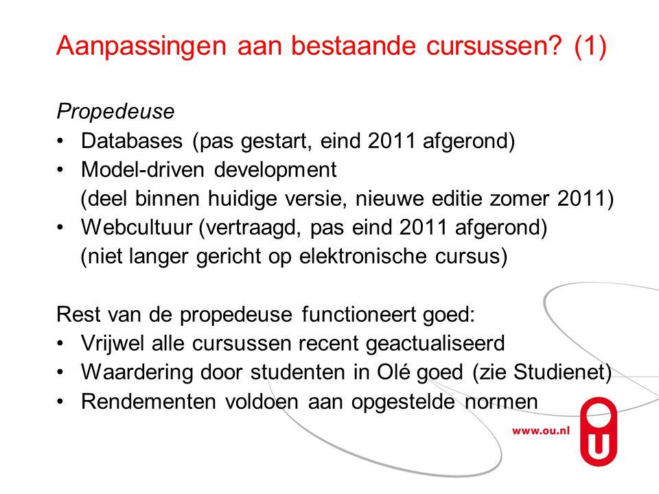 Aanpassingen aan bestaande cursussen.