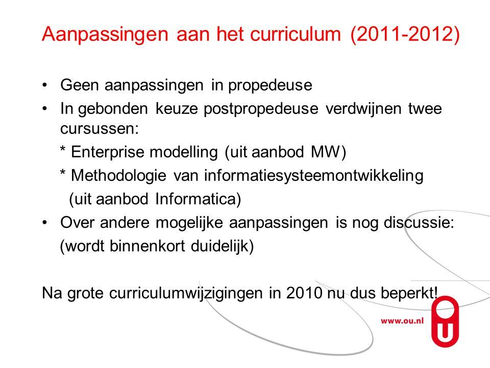 Aanpassingen aan het curriculum (2011-2012) Geen aanpassingen in propedeuse In gebonden keuze postpropedeuse verdwijnen twee cursussen: * Enterprise modelling (uit aanbod MW) * Methodologie van informatiesysteemontwikkeling (uit aanbod Informatica) Over andere mogelijke aanpassingen is nog discussie: (wordt binnenkort duidelijk) Na grote curriculumwijzigingen in 2010 nu dus beperkt!