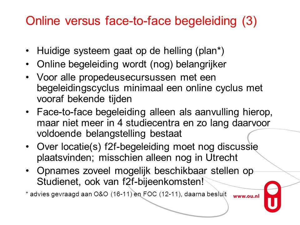 Online versus face-to-face begeleiding (3) Huidige systeem gaat op de helling (plan*) Online begeleiding wordt (nog) belangrijker Voor alle propedeusecursussen met een begeleidingscyclus minimaal een online cyclus met vooraf bekende tijden Face-to-face begeleiding alleen als aanvulling hierop, maar niet meer in 4 studiecentra en zo lang daarvoor voldoende belangstelling bestaat Over locatie(s) f2f-begeleiding moet nog discussie plaatsvinden; misschien alleen nog in Utrecht Opnames zoveel mogelijk beschikbaar stellen op Studienet, ook van f2f-bijeenkomsten.