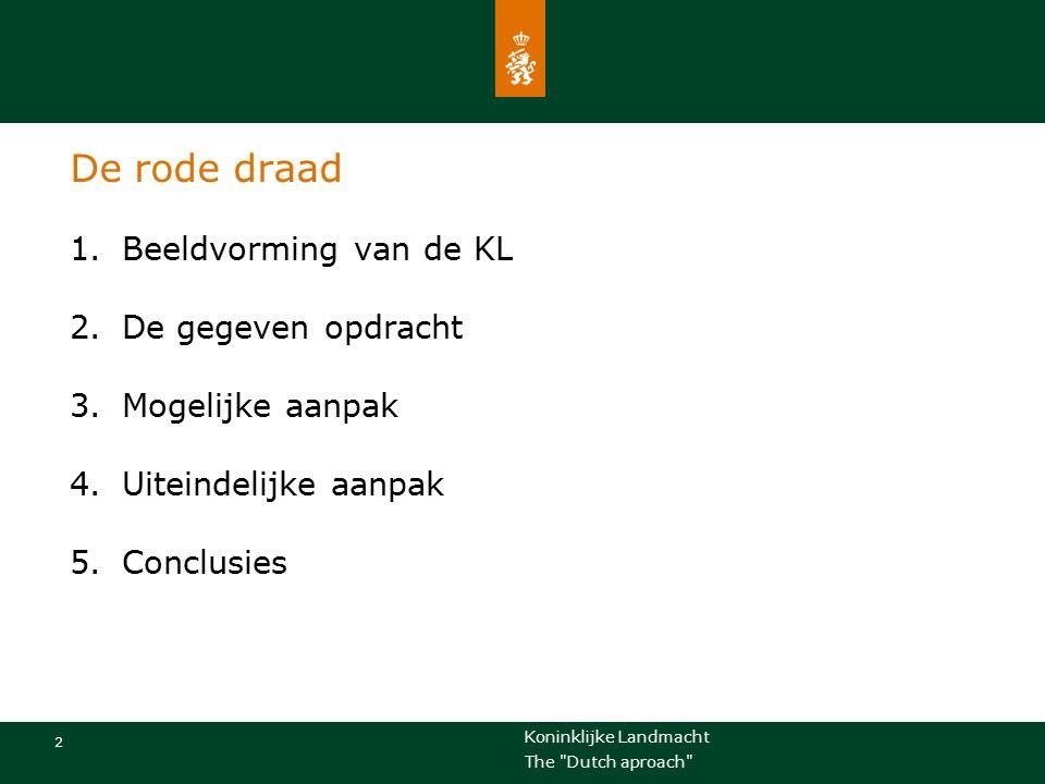 Koninklijke Landmacht 13 The Dutch aproach Lessons learned Samen met de instructeurs en docenten