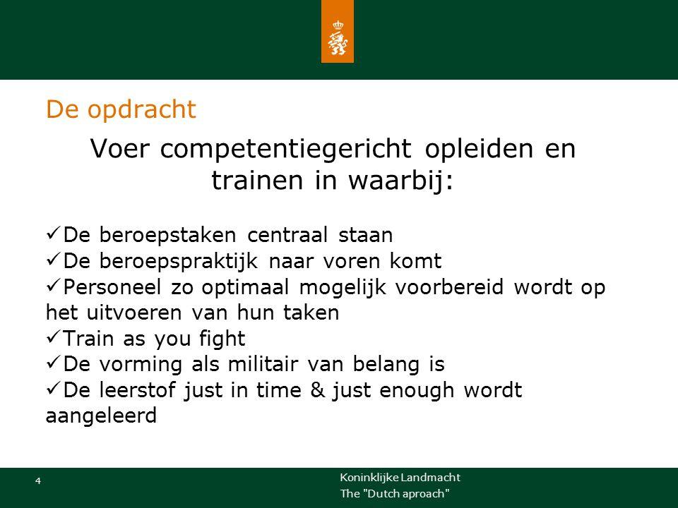Koninklijke Landmacht 15 The Dutch aproach Lessons learned Zelf mee lopen Niet vanuit een machtspositie, maar als een gelijke