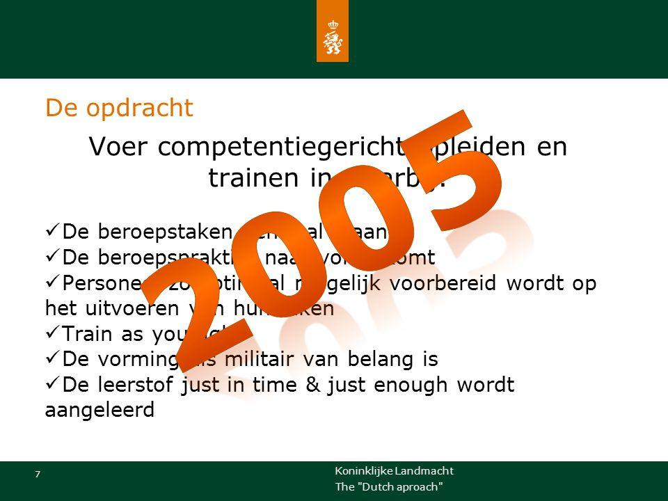 Koninklijke Landmacht 8 The Dutch aproach Implementatie stap voor stap (retrospectie) 1.Concept 'cgo' verder uitwerken  Nota's, beleidsbrieven  Richtlijnen en uitgangspunten 2.