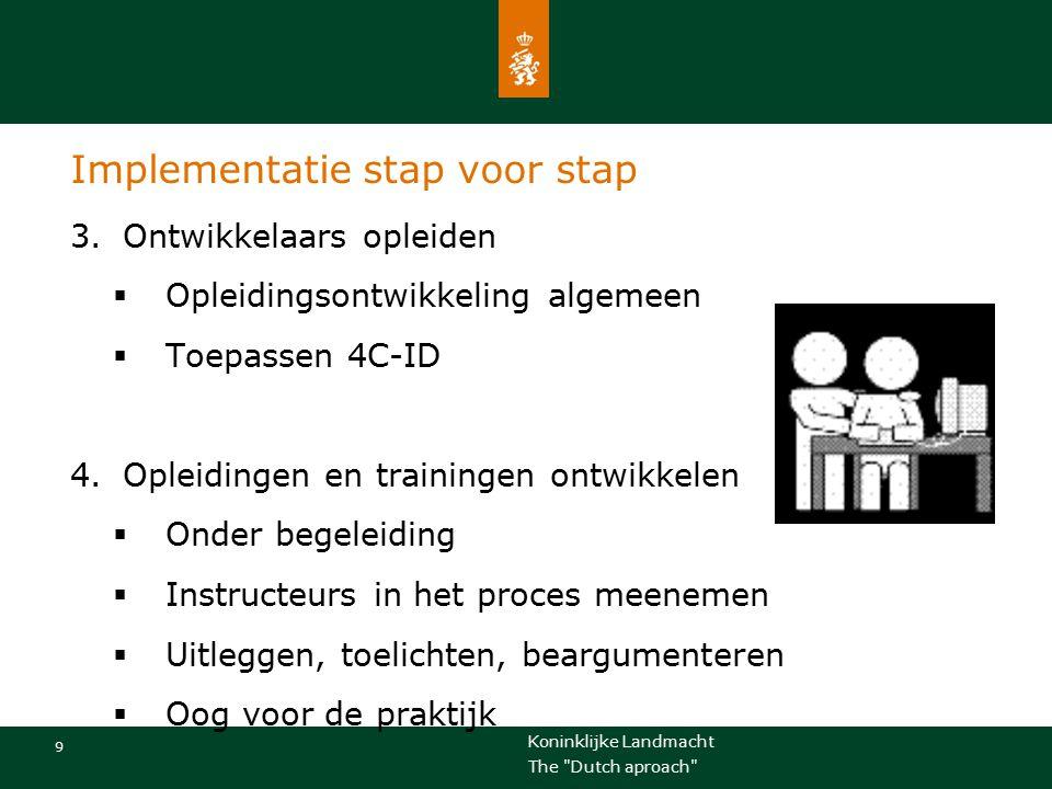 Koninklijke Landmacht 10 The Dutch aproach Implementatie stap voor stap 5.Effecten/meerwaarde onderzoeken  Ontwerponderzoek  Praktijk en theorie gecombineerd  Training militaire besluitvorming  Herontwerp op basis van 4C-ID