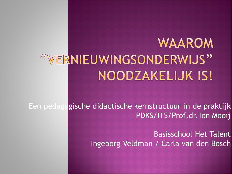 Een pedagogische didactische kernstructuur in de praktijk PDKS/ITS/Prof.dr.Ton Mooij Basisschool Het Talent Ingeborg Veldman / Carla van den Bosch