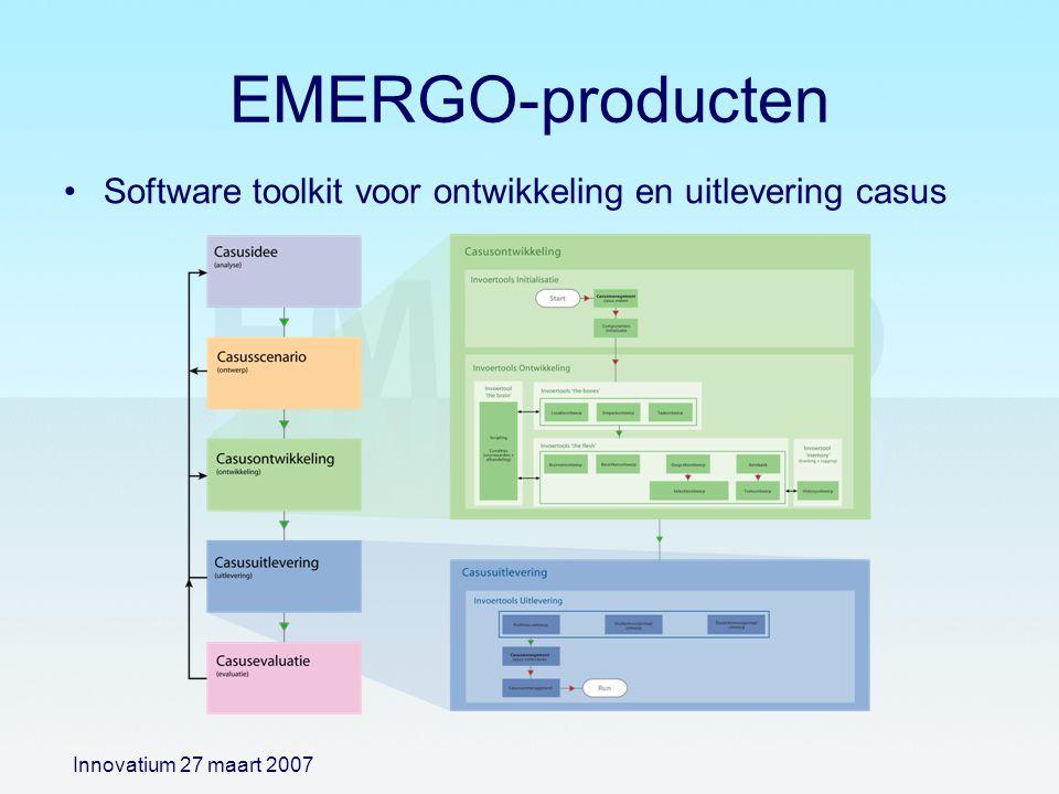 EMERGO-producten Software toolkit voor ontwikkeling en uitlevering casus Innovatium 27 maart 2007