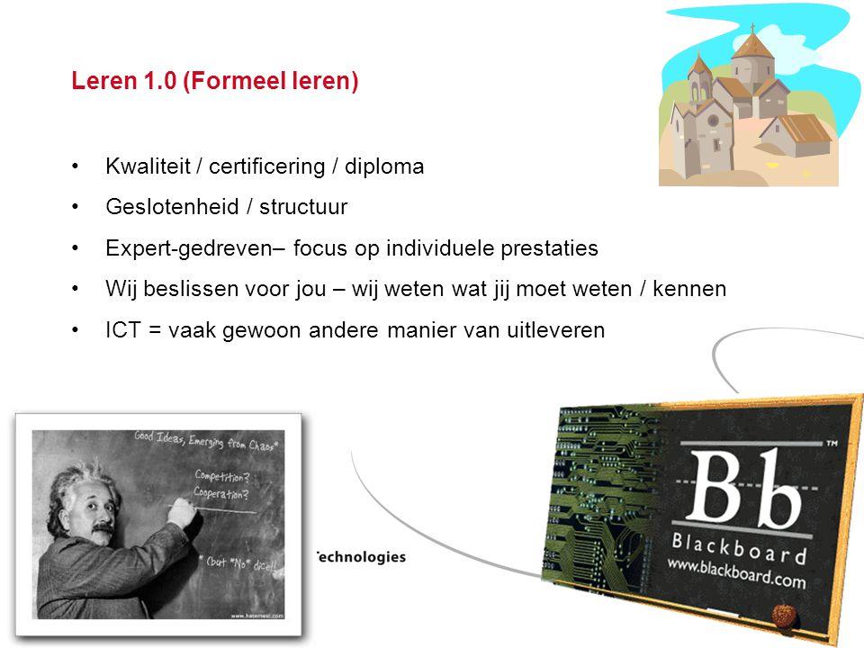 Blended learning - Steven Verjans Pagina 13 Leren 1.0 (Formeel leren) Kwaliteit / certificering / diploma Geslotenheid / structuur Expert-gedreven– focus op individuele prestaties Wij beslissen voor jou – wij weten wat jij moet weten / kennen ICT = vaak gewoon andere manier van uitleveren