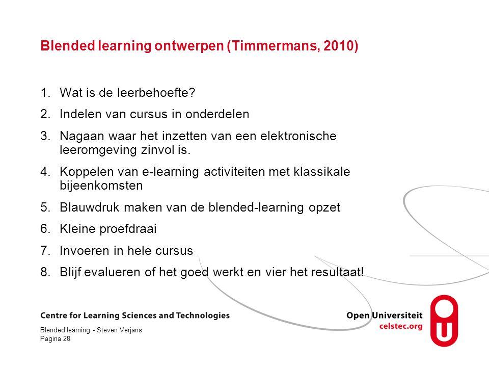 Blended learning - Steven Verjans Pagina 28 Blended learning ontwerpen (Timmermans, 2010) 1.Wat is de leerbehoefte.