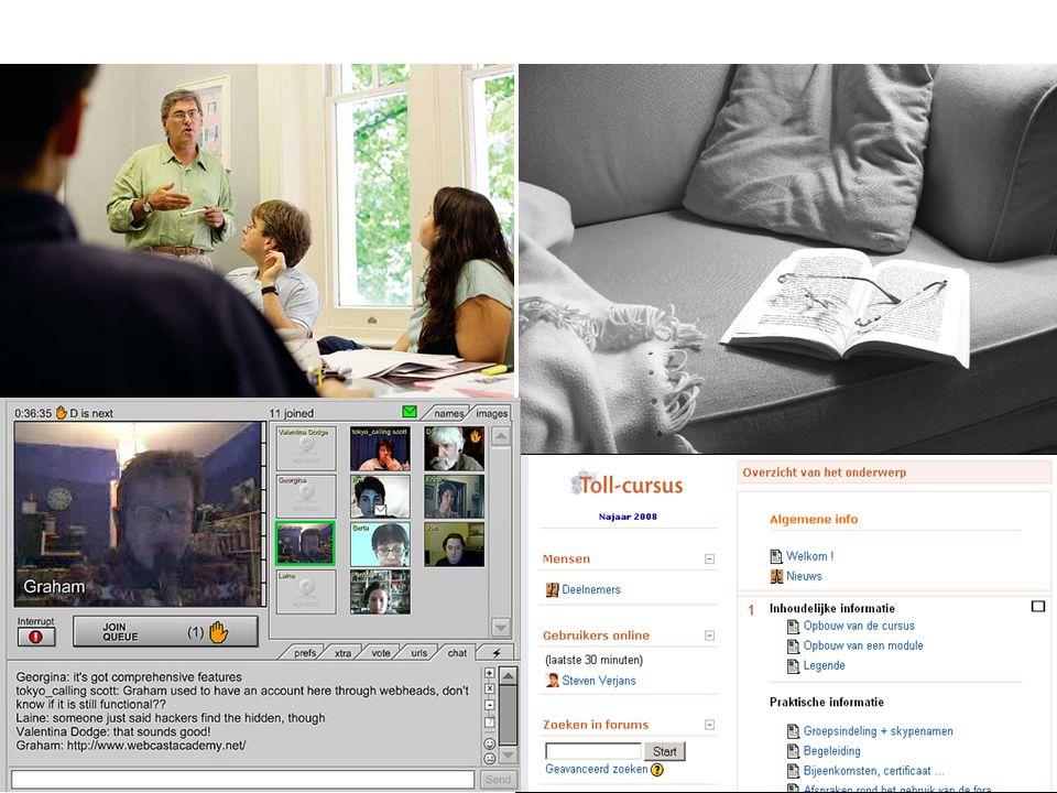 Blended learning - Steven Verjans Pagina 8 Werkdefinitie 'Blended learning omvat een mix van e-learning en andere vormen van onderwijs, waarbij het gaat om de –distributiewijze van leerinhouden, –vormen van communicatie, –didactische strategieën en –soorten leeromgevingen in relatie tot type leerprocessen, of om een combinatie hiervan.' (Fransen, 2006a, p.29)