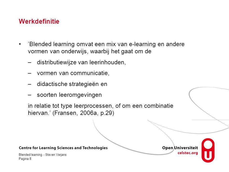 Blended learning - Steven Verjans Pagina 29 Wat zijn de leerdoelen.