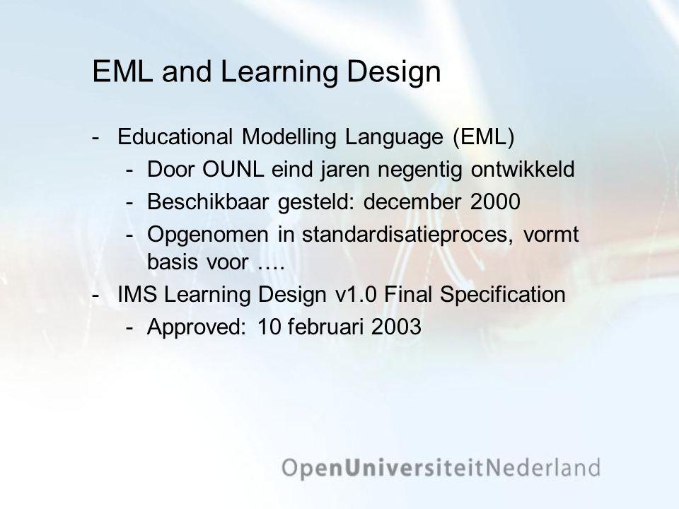 EML and Learning Design Educational Modelling Language (EML) Door OUNL eind jaren negentig ontwikkeld Beschikbaar gesteld: december 2000 Opgenomen in standardisatieproces, vormt basis voor ….