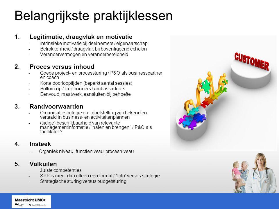 Belangrijkste praktijklessen 1.Legitimatie, draagvlak en motivatie -Intrinsieke motivatie bij deelnemers / eigenaarschap -Betrokkenheid / draagvlak bij bovenliggend echelon -Verandervermogen en veranderbereidheid 2.Proces versus inhoud -Goede project- en processturing / P&O als businesspartner en coach -Korte doorlooptijden (beperkt aantal sessies) -Bottom up / frontrunners / ambassadeurs -Eenvoud, maatwerk, aansluiten bij behoefte 3.Randvoorwaarden -Organisatiestrategie en –doelstelling zijn bekend en vertaald in business- en activiteitenplannen -(tijdige) beschikbaarheid van relevante managementinformatie / 'halen en brengen ' / P&O als facilitator .
